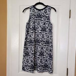 Loft small petite sleeveless dress navy and white